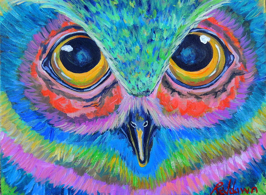 Owl Painting - Owl Well by Dawn Gray Moraga