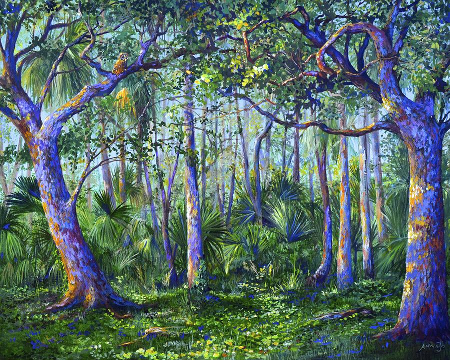 Florida Painting - Owl Woods by AnnaJo Vahle
