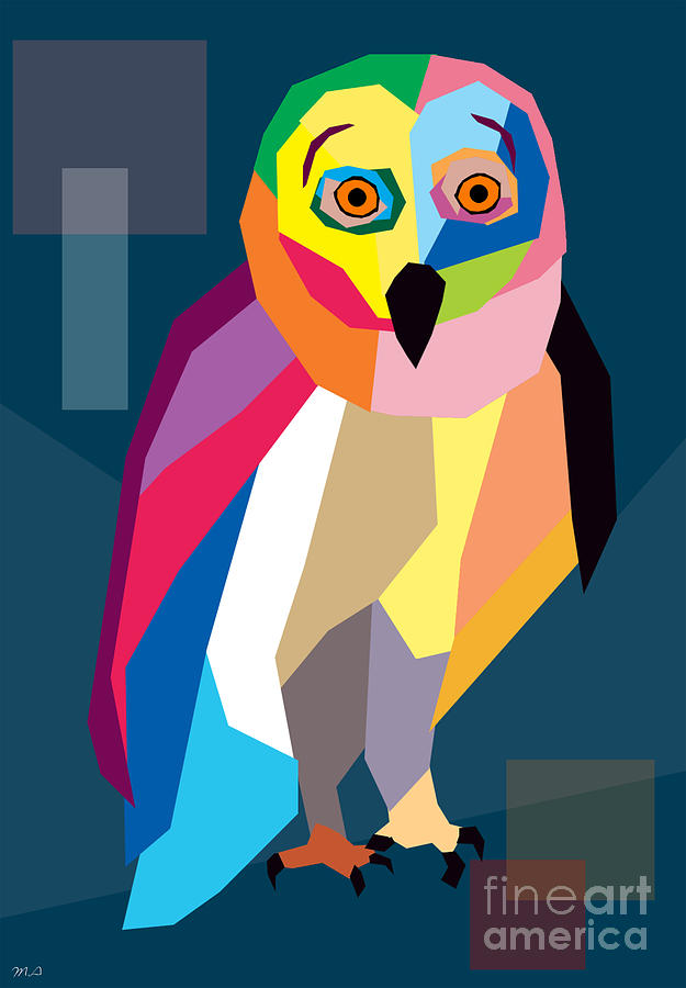 Owl Digital Art - Owl Wpap  by Mark Ashkenazi