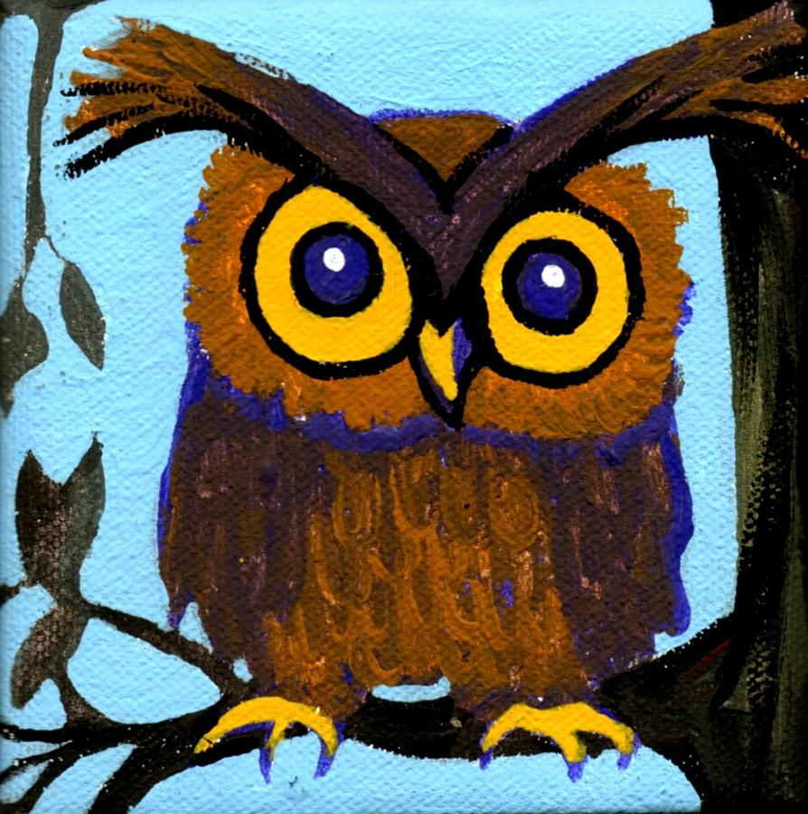 Owl Painting - Owlette by Genevieve Esson