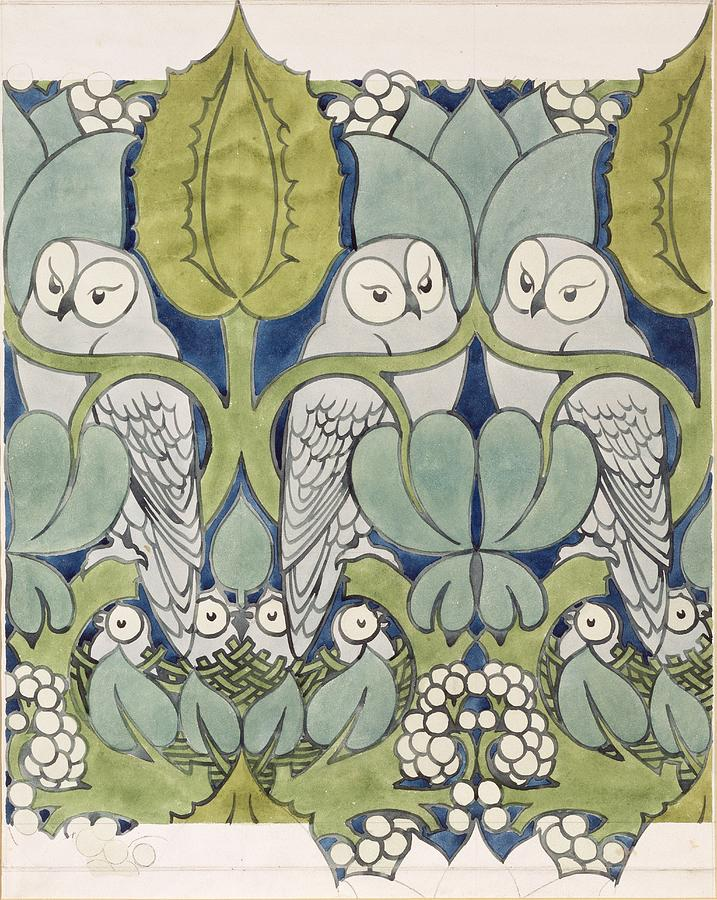 Arts And Crafts Movement Painting - Owls, 1913 by Charles Francis Annesley Voysey