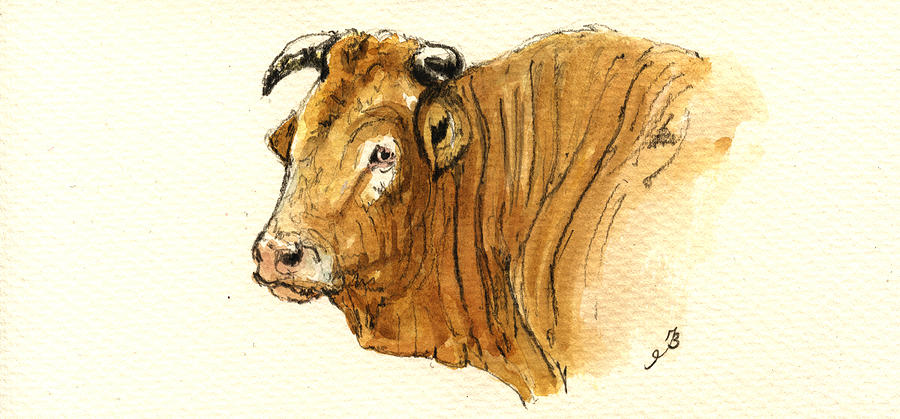 Ox Painting - Ox Head Painting Study by Juan  Bosco