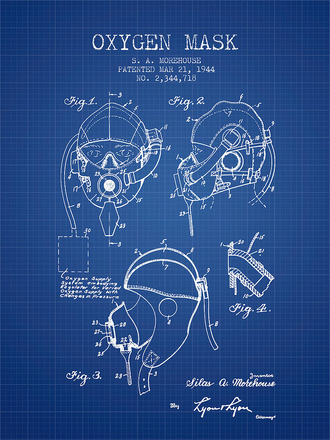 Oxygen mask patent from 1944 blueprint digital art by aged pixel oxygen mask digital art oxygen mask patent from 1944 blueprint by aged pixel malvernweather Image collections