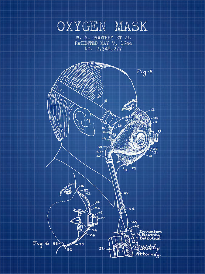 Oxygen mask patent from 1944 three blueprint digital art by oxygen mask digital art oxygen mask patent from 1944 three blueprint by aged malvernweather Image collections