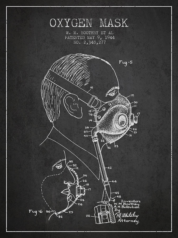 Oxygen Mask Digital Art - Oxygen Mask Patent from 1944 - Three - Charcoal by Aged Pixel