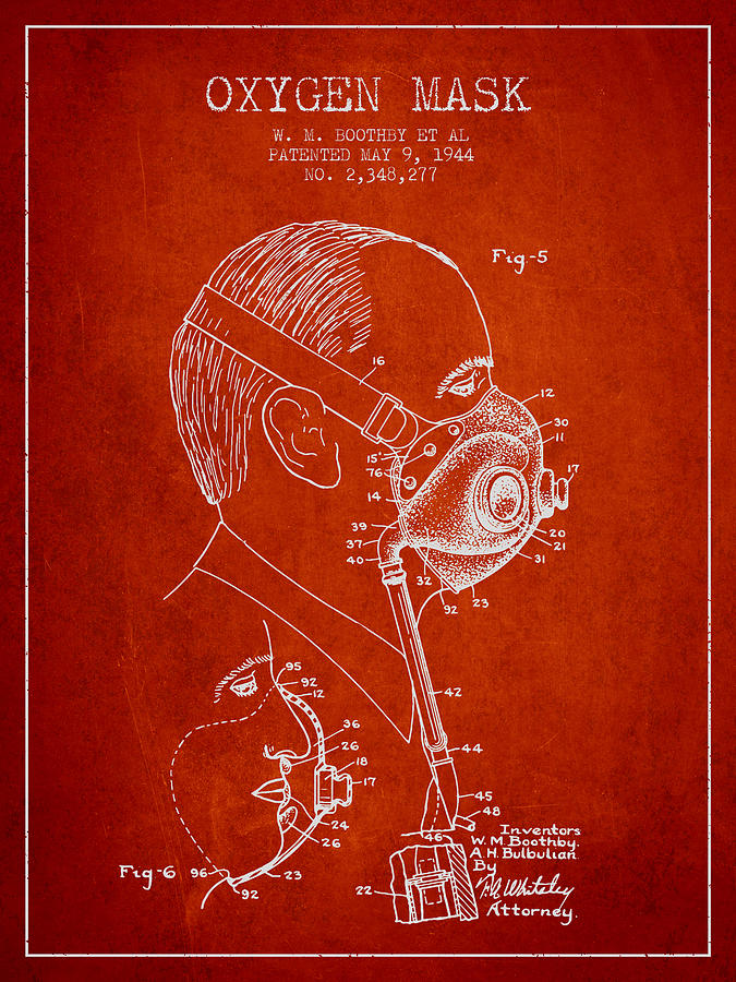 Oxygen Mask Digital Art - Oxygen Mask Patent From 1944 - Three - Red by Aged Pixel