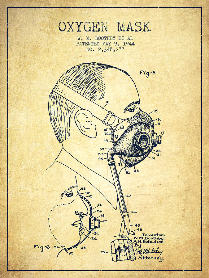 Oxygen Mask Digital Art - Oxygen Mask Patent From 1944 - Three - Vintage by Aged Pixel
