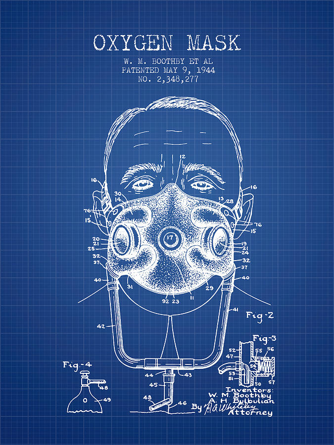Oxygen mask patent from 1944 two blueprint digital art by aged pixel oxygen mask digital art oxygen mask patent from 1944 two blueprint by aged malvernweather Image collections