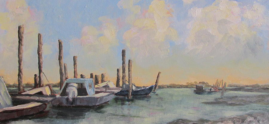 Apalachicola Bay Painting - Oyster Boat Evening by Susan Richardson