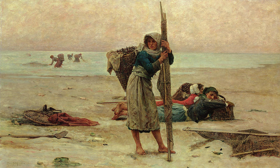 Beach Painting - Oyster Catching by Pierre Celestin Billet