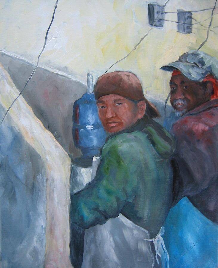 Oysters Painting - Oyster Shuckers Apalachicola by Susan Richardson