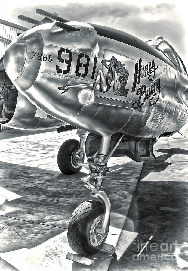 Black And White Photography Painting - P-38 Airplane by Gregory Dyer