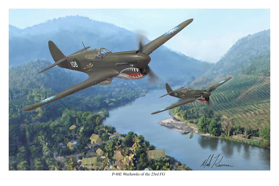 Airplanes Painting - P-40 Warhawks Of The 23rd Fg by Mark Karvon