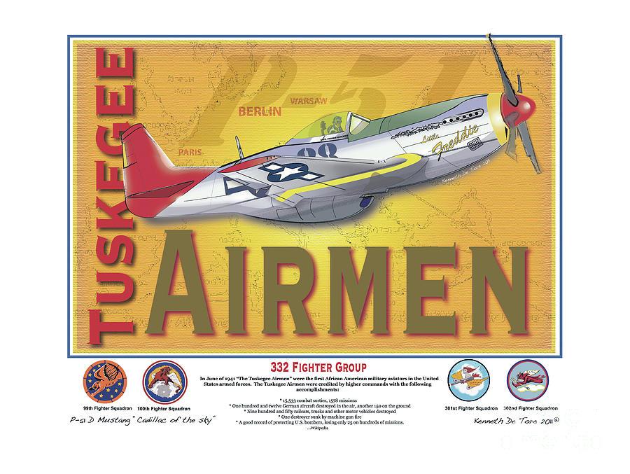 Tuskegee Digital Art - P-51 D Tuskegee Airmen by Kenneth De Tore