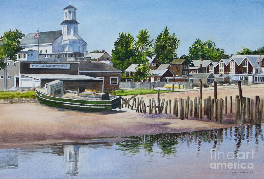 Church Painting - P Town Boat Works by Karol Wyckoff