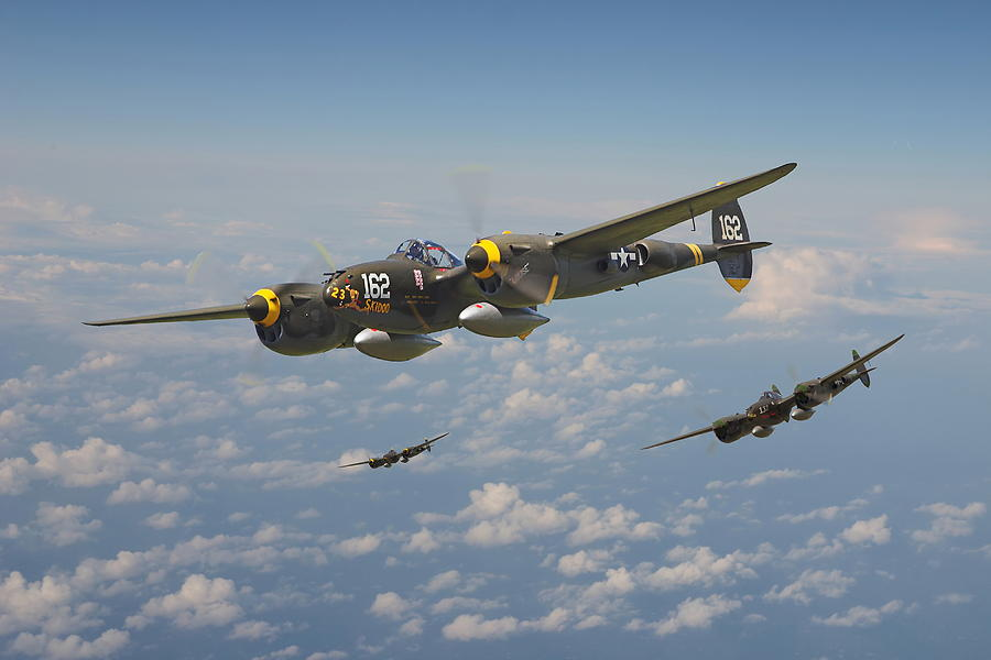 Aircraft Digital Art - P38 Lightning - Pacific Patrol by Pat Speirs