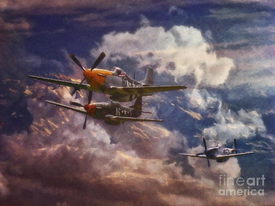 P 51 Mustang Art P51 Mustang Airplane F...