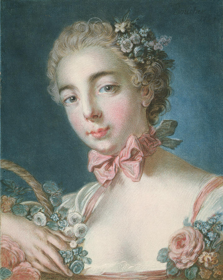 Flora Painting - Head Of Flora 1 by Francois Boucher