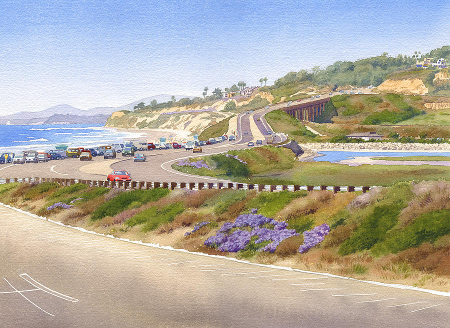 Pacific Coast Painting - Pacific Coast Hwy Del Mar by Mary Helmreich