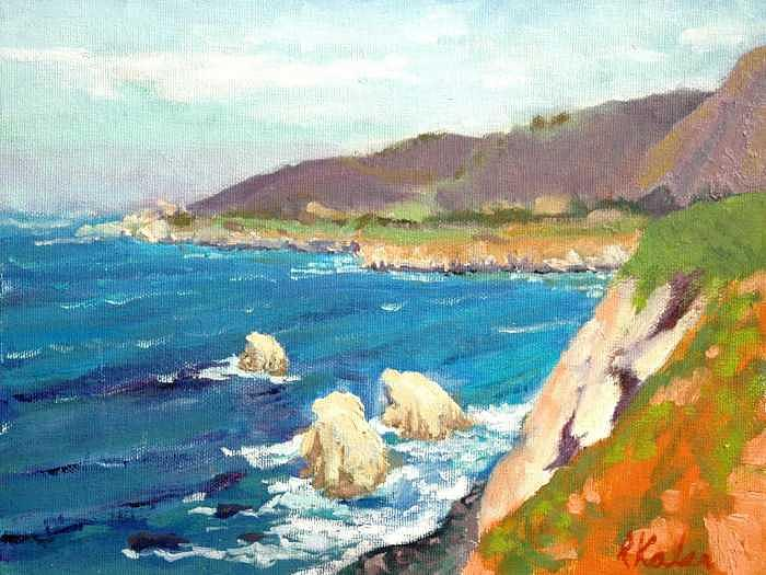 Pacific Coast Painting by Raymond Kaler