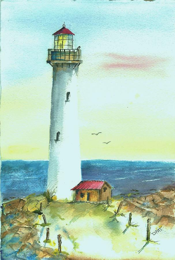 Watercolor Lighthouse Painting - Pacific Lighthouse by David Patrick