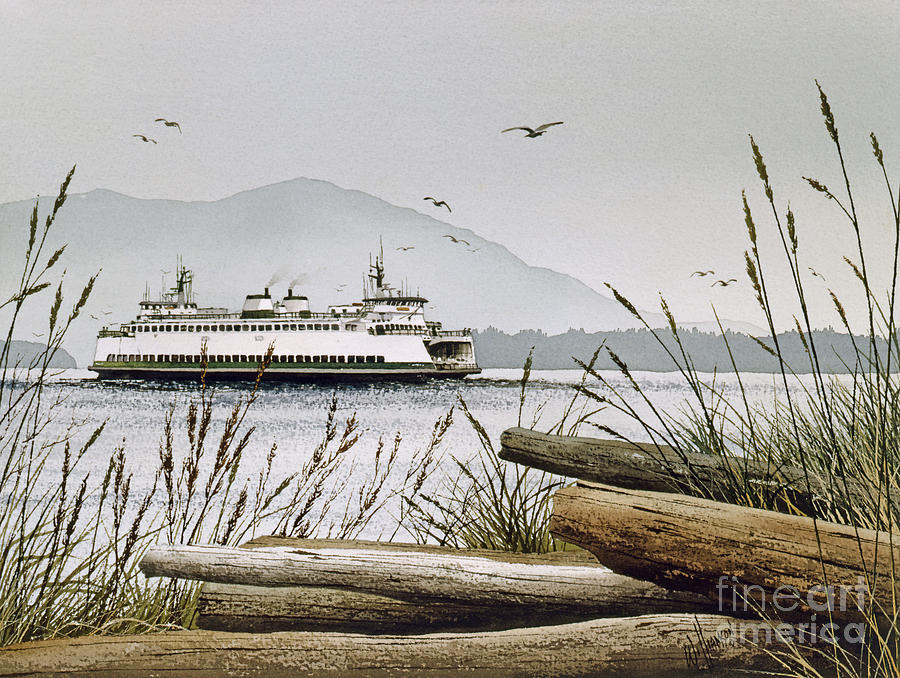 Pacific Northwest Ferry Poster Painting - Pacific Northwest Ferry by James Williamson