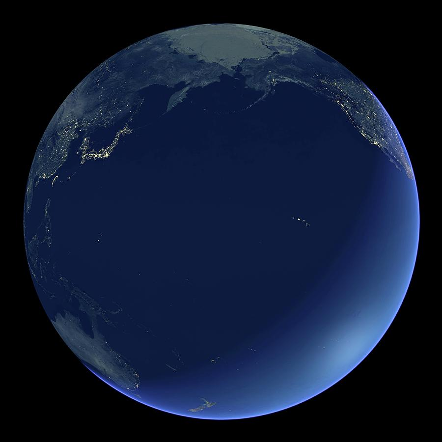 Earth Photograph - Pacific Ocean At Night by Planetary Visions Ltd/science Photo Library