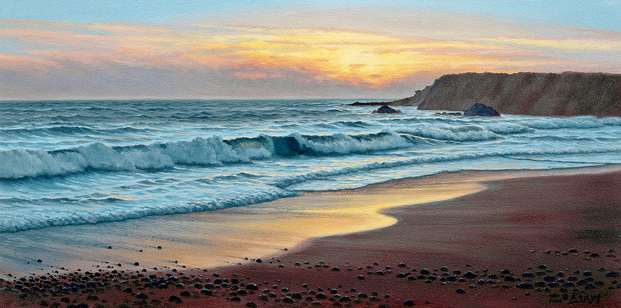 Seascape Painting - Pacific Sunset by Paul Krapf
