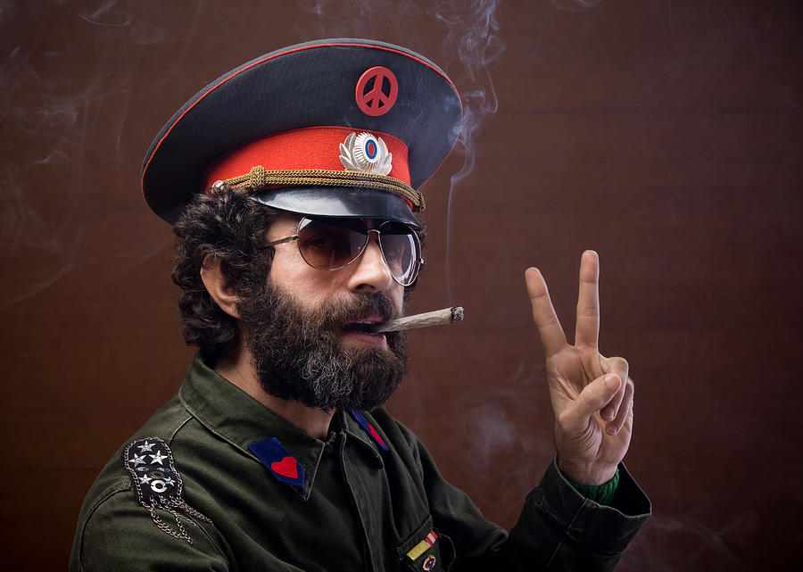 Pacifist General In Military Officier Uniform Making Peace Sign Photograph by Selimaksan