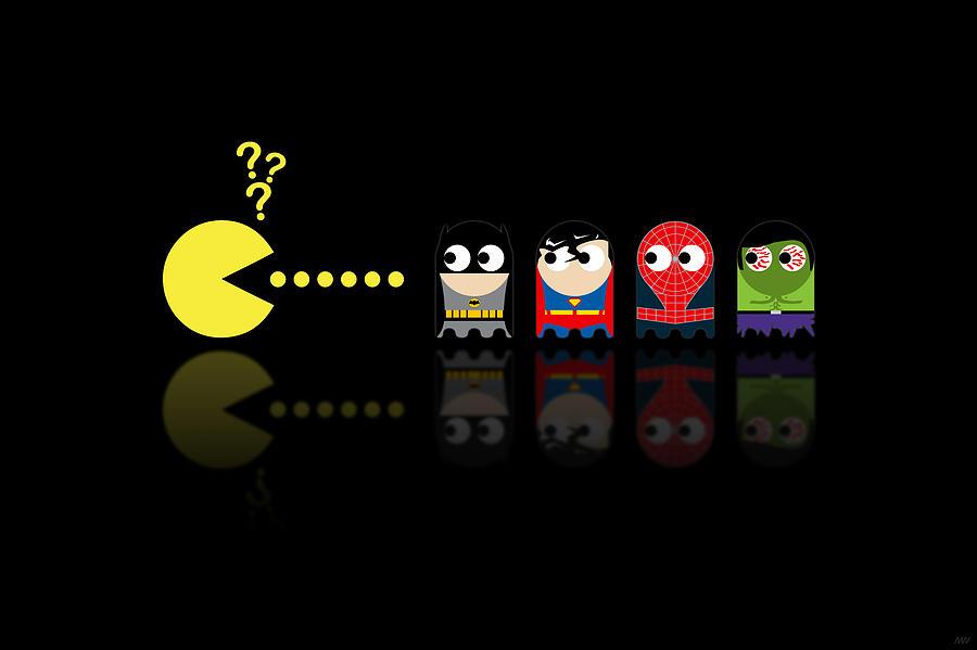 Pacman Digital Art - Pacman Superheroes by NicoWriter