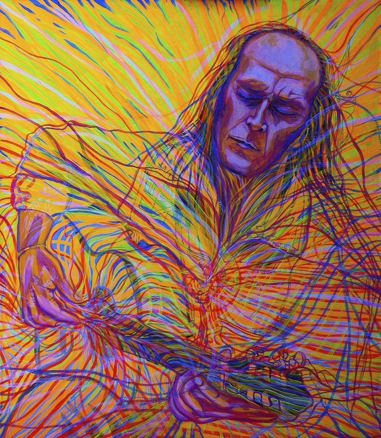 Cosmism Painting - Paco De Lucia And Guardian Angel by Lola Lonli