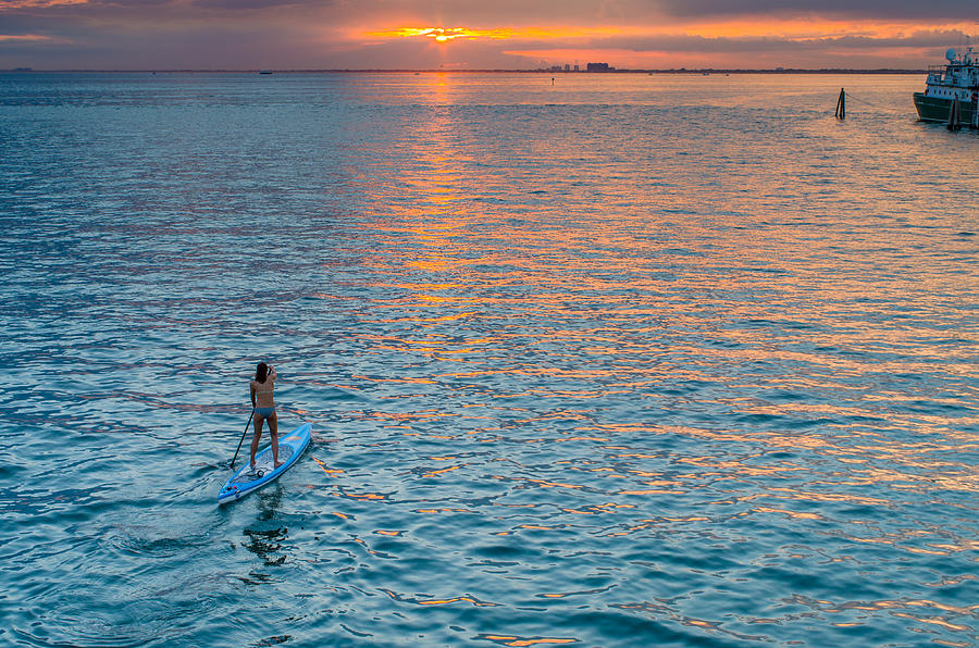 Biscayne Bay Photograph - Paddle Girl by Jonathan Gewirtz