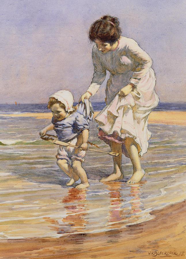 Beach Painting - Paddling by William Kay Blacklock
