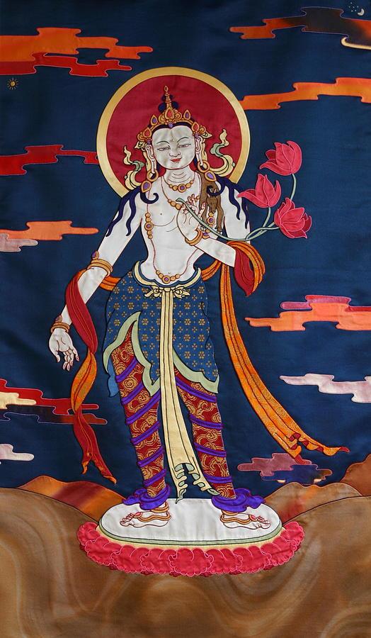 Tibetan Tapestry - Textile - Padmapani by Leslie Rinchen-Wongmo