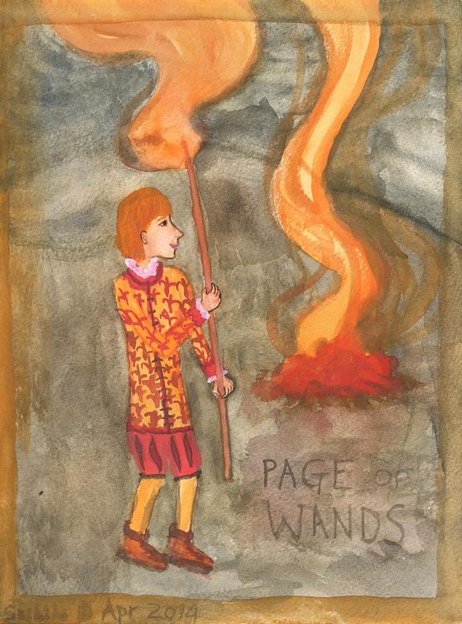 Tarot Painting - Page Of Wands by Sushila Burgess