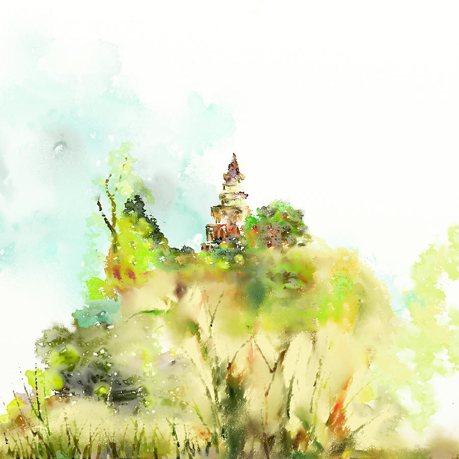 Pagoda Painting - Pagoda by Len YewHeng