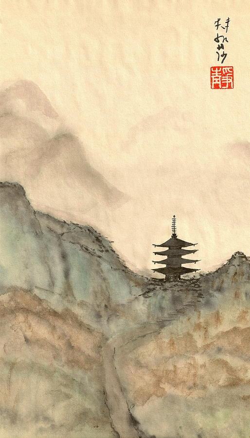 Japanese Painting - Pagoda Path by Terri Harris