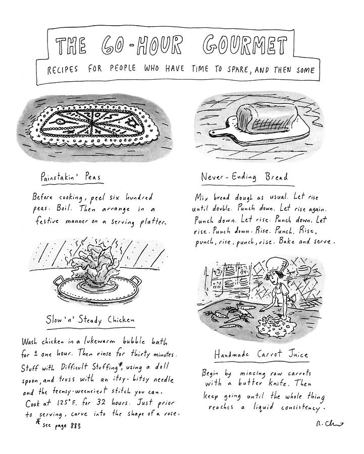 Painstakin Peas Drawing by Roz Chast