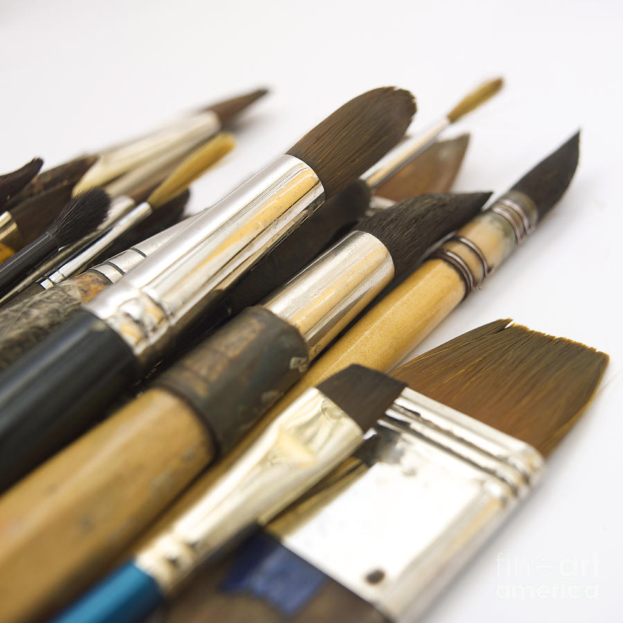 Indoors Photograph - Paint Brushes by Bernard Jaubert
