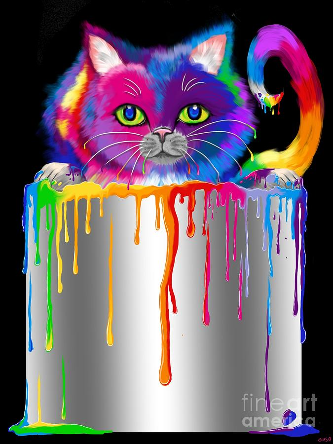 Cat Painting - Paint Can Cat by Nick Gustafson