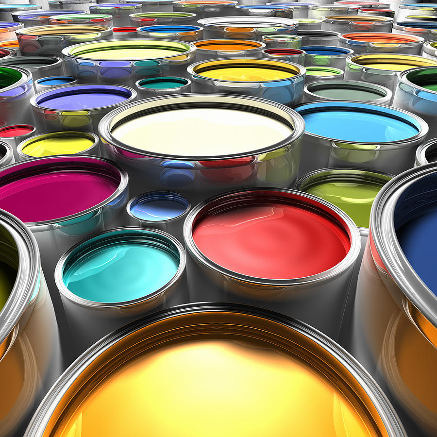 Paint Cans With Open Lids (digital) Photograph by Ian McKinnell
