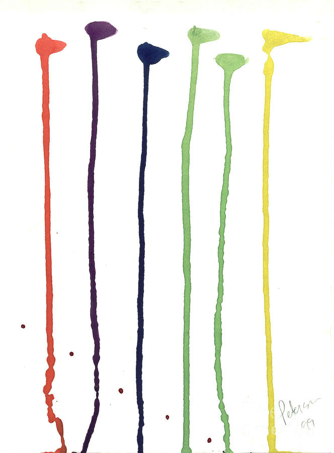 Golf Club Paints Flags Sticks Legs Cathy Peterson Ventura California Listed Artist Watercolor Oil Paint Painting Modern Contemporary Impressionist Impressionism Expressionist Abstract Realism Minimalism Rural Scenes Fantasy Original Works Pen Pencil Graphic Colored Pencils India Ink Gouache Mixed Media House Coffee Fine Design Oeuvre Printmaking Westmont College Santa Barbara Cloth Panels Paper Drawings Sketches Experimental Ideas Dekalb 1964 Painter Interpretive Art  Painting - Paint Drops  by Cathy Peterson