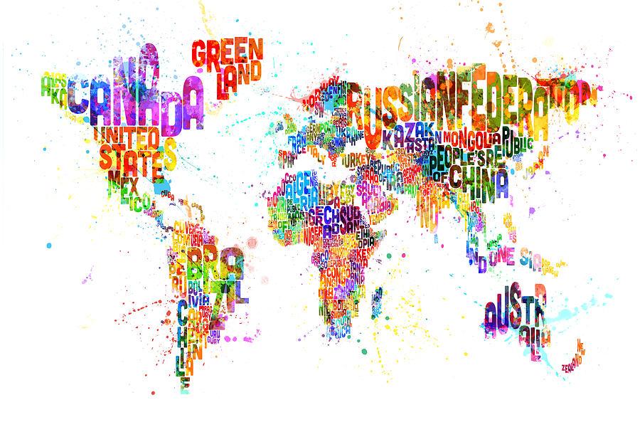 Paint Splashes Text Map Of The World Digital Art by Michael Tompsett