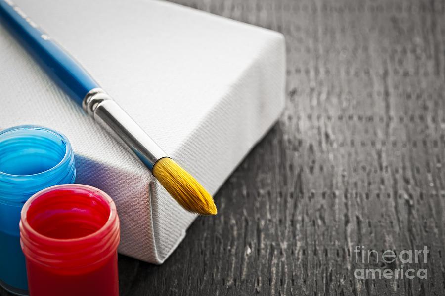 Brush Photograph - Paintbrush On Canvas by Elena Elisseeva