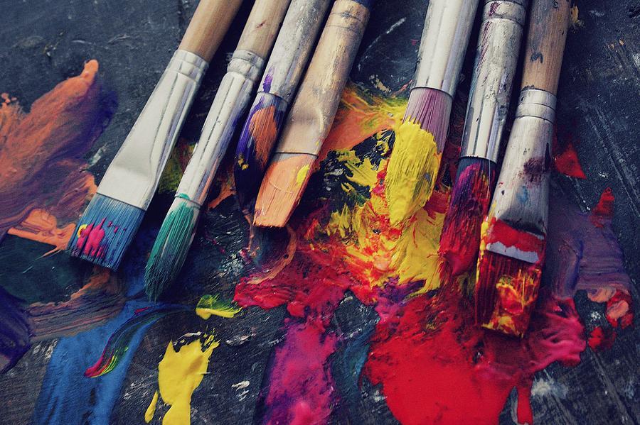 Paint Photograph - Paintbrushes  by Bella  Harris