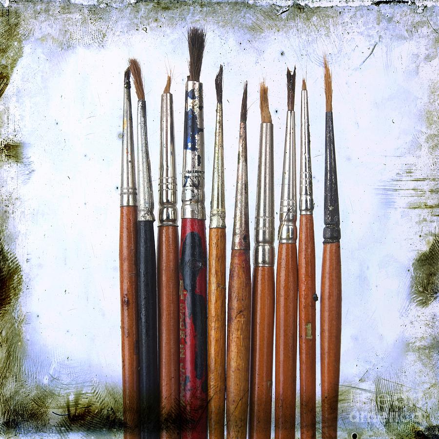Studio Shot Photograph - Paintbrushes by Bernard Jaubert