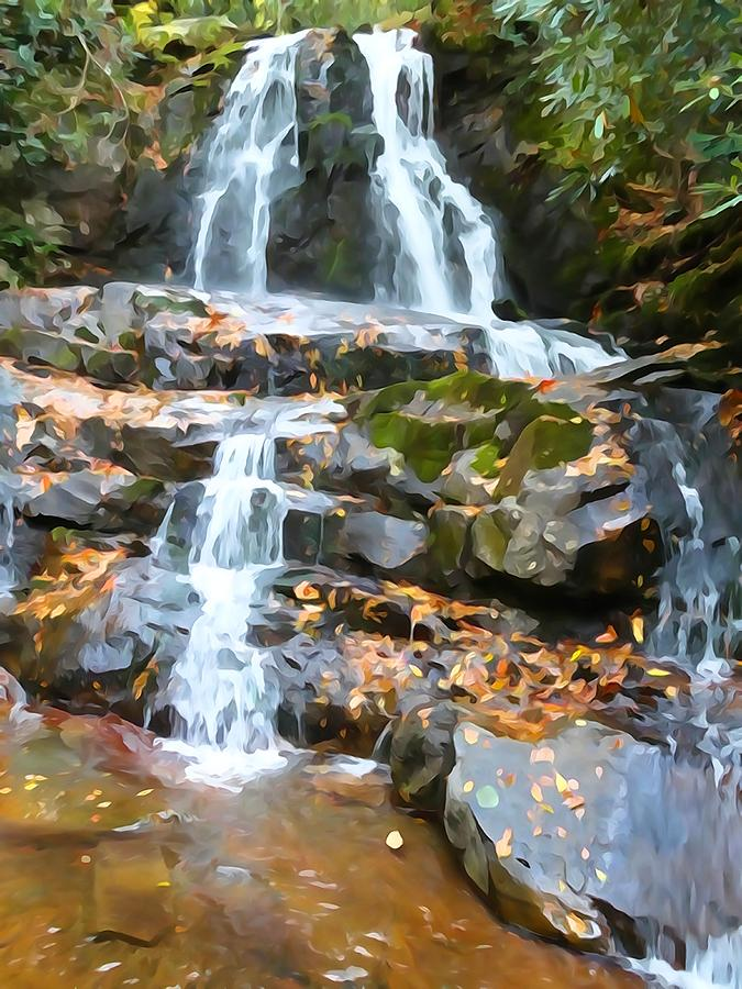 Waterfall Photograph - Painted Falls In The Smokies by Dan Sproul