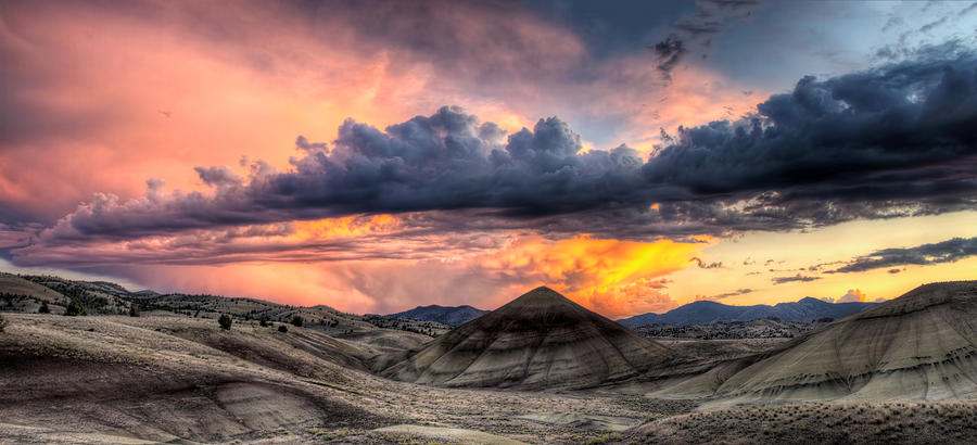 Painted Photograph - Painted Hills In Oregon Panorama At Sunset by David Gn