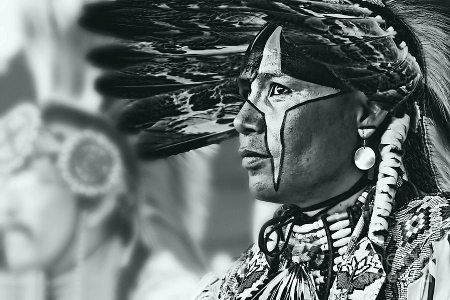 Native American Photograph - Painted Native In Silver Screen Tone by Scarlett Images Photography