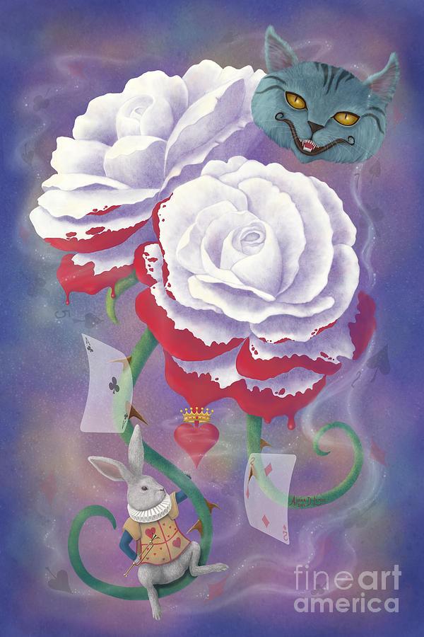 Alice In Wonderland Digital Art - Painted Roses For Wonderlands Heartless Queen by Audra D Lemke